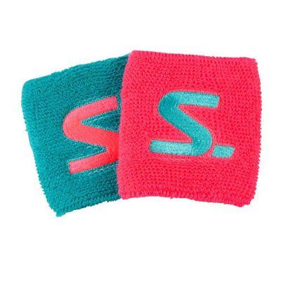 Salming zweetbandje 8 cm. roze-blauw (2x)